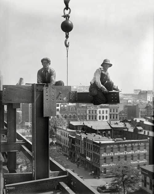 """indypendent-thinking:  Summer 1929. Washington, D.C. """"Workers on building under construction."""" Harris & Ewing Collection glass negative. (via Shorpy Historical Photo Archive :: Steeplejacks: 1929)"""