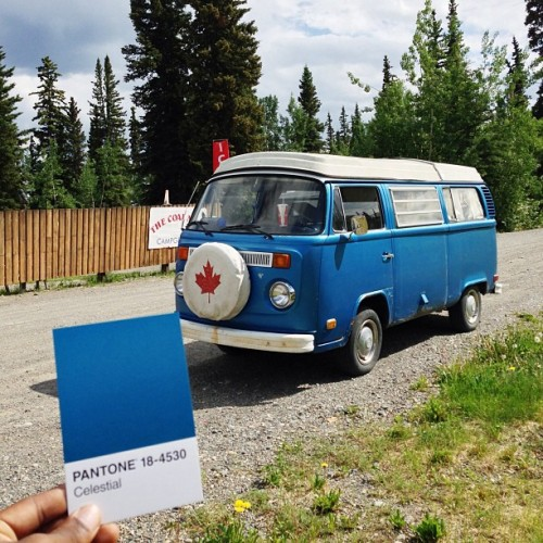 This Canadian Blue Beauty pulled up aside of us! Pantone 18-4530 Celestial #thepantoneproject (at Dawson Yukon)