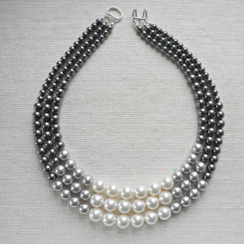 Triple strand crystal pearl necklace