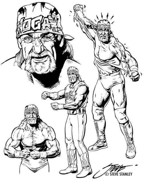 Hulk Hogan Drawing : hogan, drawing, WorldWide, Hogan, Lineart, Steve, Stanley, [1999]