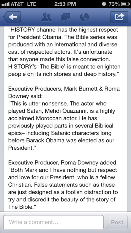 Well you know they would respond, here is what the History Channel has to say about people who are saying the devil from the Bible miniseries looks just like Pres. Obama