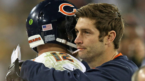 Smokin' Jay Cutler congratulates Chicago Bears backup QB Josh Mcown on defeating the Green Bay Packers last night 27-20. Reports have Smokin' Jay potentially returning next week against the Detroit Lions.<br /> Fan submission (courtesy of Mika69)