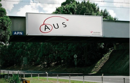 "Virgin Australia promoted its long haul flights from Australia to the United States with a billboard featuring the close connection between the two countries' abbreviations. ""From AUS to USA. Virgin Australia. Now you're flying."" The billboard won a Gold Outdoor Lion at 2012 Cannes International Festival of Creativity. <br /> Clemenger BBDO, Sydney, Executive Creative Director Paul Nagy"