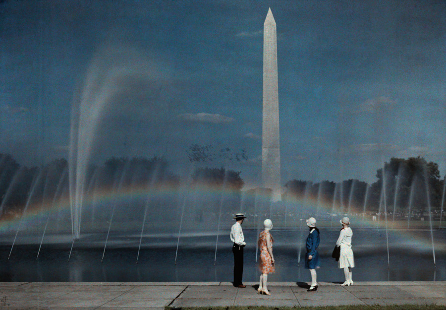 Tourists admire the beauty and size of the Washington Monument, April 1935.Photograph by Jacob J. Gayer, National Geographic