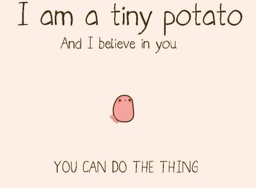 forkanna:  rainbowninjaprincess1:  forkanna:  hellyeahpuckentine  Thank you, tiny potato  200 NOTES ON THIS HOW MANY INSPIRATIONAL POTATOES DO YOU NEED
