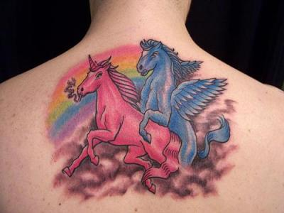 unicorn sex with a smoke, and a tattoo. double win.