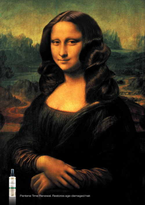 "Da Vinci's ""Monalisa"" with a beautiful hair. Yes, Pantene makes great miracles on the artistical world, hahaha."
