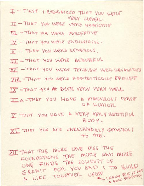 Eero Saarinen, list of Aline Bernstein's good qualities, ca. 1954. Aline and Eero Saarinen papers, 1857–1972. Archives of American Art. Smithsonian Institution. Viajenbee.