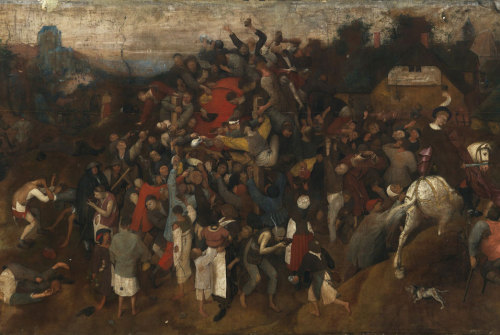The Museo del Prado Identifies an Unknown Work by Pieter Bruegel the Elder: The Wine of Saint Martin's Day (glue-size tempera on linen, 148 x  270.5cm, ca.1565-1568) is a previously unknown work by Pieter Bruegel  the Elder, the key figure within 16th-century Flemish painting. It has  been attributed to the artist by the Museo del Prado following several months of study and the restoration of the painting at  the Museum.