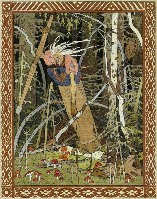 An illustration of Baba Yaga flying through the forest in a mortar and using the pestle to steer. She carries a silver broom in the other hand.
