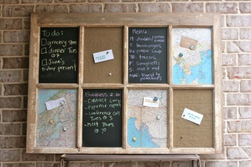 bookspaperscissors:</p><br /> <p>Message Board in Salvaged Distressed Window by MoxieHomeShop<br /><br />