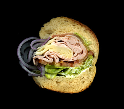 M&S Prime Meats: Turkey, Swiss, Lettuce, Tomato, Onions, Mayo, on a Hero