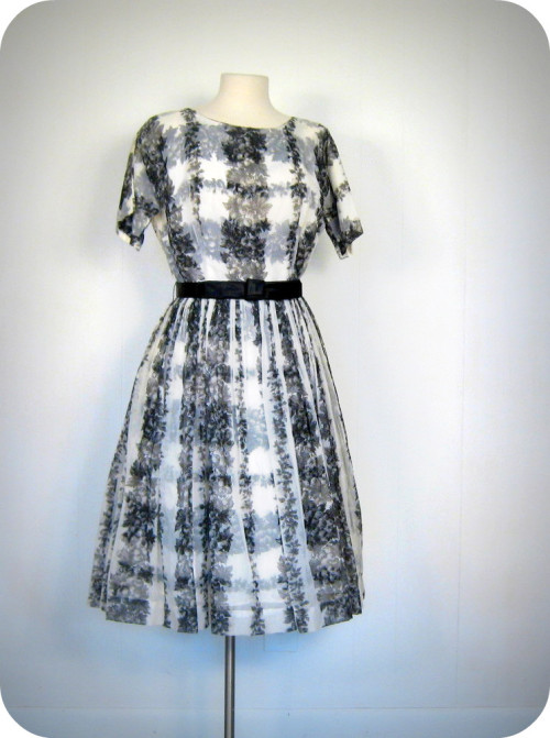 alwaysalwaysalwaysthesea:  1950s vineyard print chiffon and taffeta party dress with satin bow belt, now in the shop!