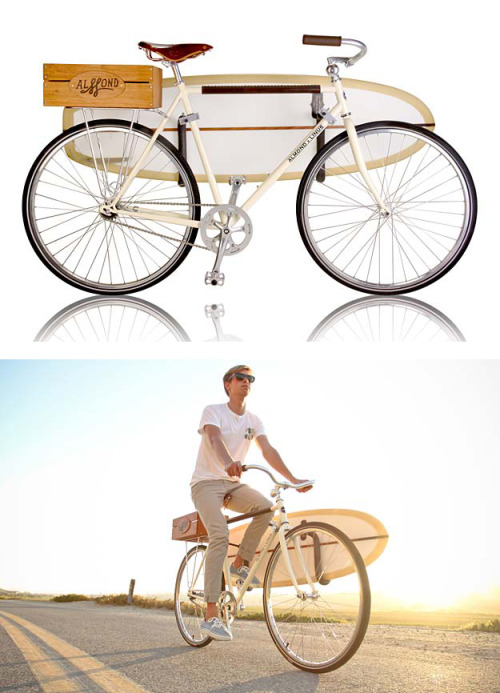 Perfection.</p> <p>quiet-design:</p> <p>Summer Edition Bicycle<br /> A collaboration between Almond Surfboards and Linus Bikes<br />