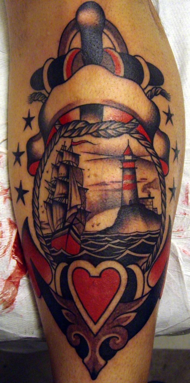 Old School Lighthouse Tattoo