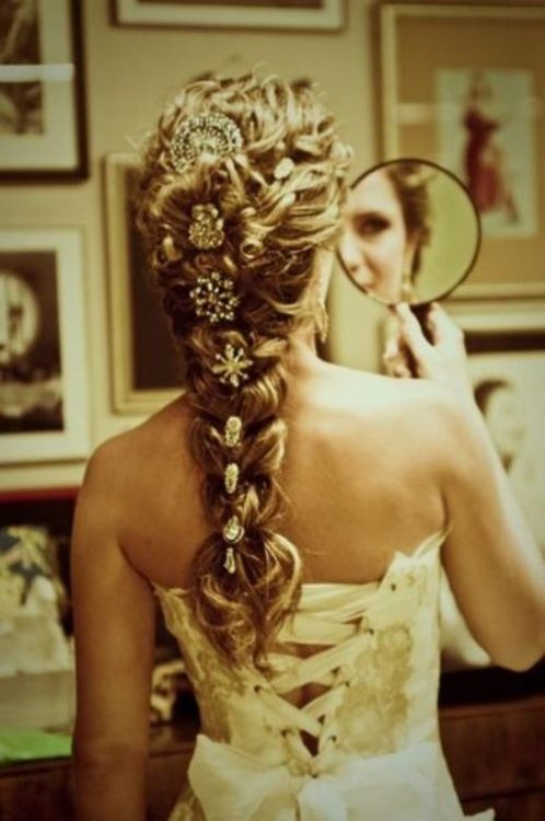 Inspiration French Braid with Vintage Brooches  Inspiration  Project Wedding Forums