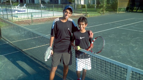 Abdul, my full time tennis academy student from Jordan, helped me teach tennis to Daja. Abdul shows incredible promise not only as a potential world class jr tennis player, but also as a tennis coach, which is a career path he is considering. Daja is 11 yrs of age. His family is from India.
