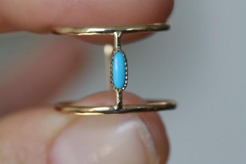 Custom Ring- 14K yellow gold with oblong turquoise stone.