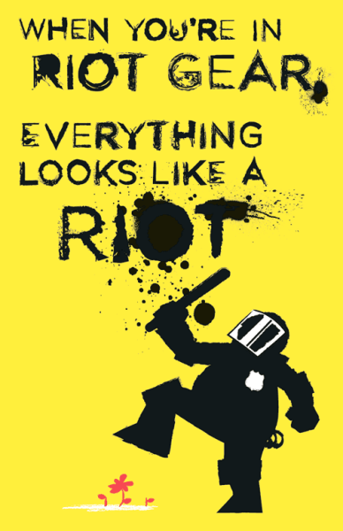 """When you're in riot gear, everything looks like a riot."" John Emerson, Brooklyn, NY. (Source.) Download PDF."