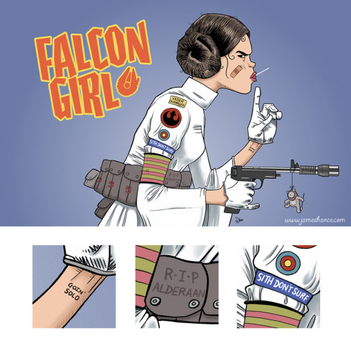 Falcon Girl by James Hance Prints available at jameshance.com (for US and Canada) and jameshance.co.uk (UK and Europe). Grab the shirt before it's inexplicably destroyed at redbubble. (via James' tumblr: jameshance)