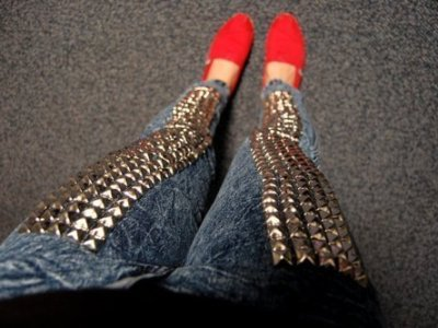 Studded jeans view