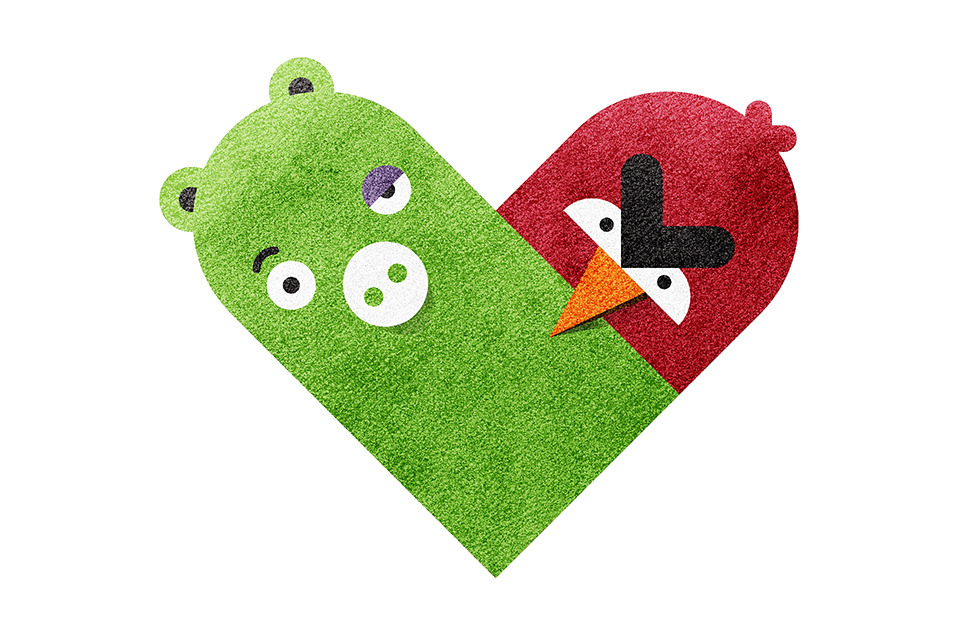 """The Pig and the Bird"" (of Angry Birds fame) from Dan Matutina's ""Versus / Hearts"" Collection"