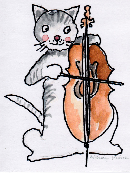 Cat playing a cello.