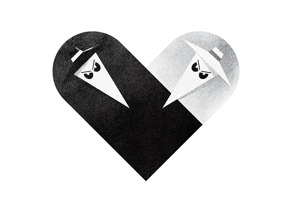 """Spy vs. Spy"" (a Mad Magazine fixture since 1961) from Dan Matutina's ""Versus / Hearts"" Collection"
