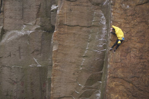 fanofdeja:A Banana on the First Fruit Ascent (FFA) of Master's Edge (E7 6a)i had to reblog this. i had to.