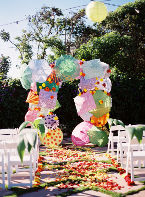 A colorful umbrella arch!