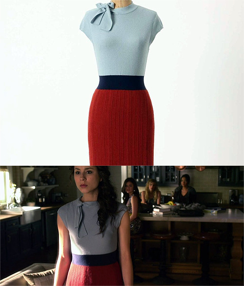 I found the dress on eBay! Its for sale for 8 more days as of 3/28/12.</p> <p>Charlie & Robin - Tie neck Sweater Dress - $119.99<br />