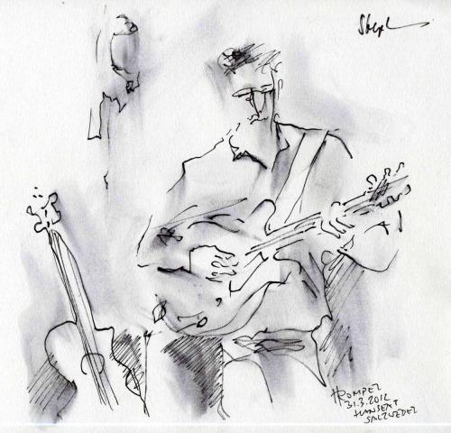 Hier ein Gemälde von Hartmut Rompel, der uns beim Konzert im Hanseat in Salzwedel in Hochgeschwindigkeit zu Papier gebracht hat. Das gefällt uns!