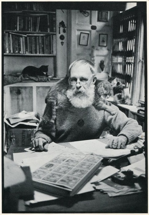 "Eduard ""Santa"" Gorey and kitty."