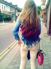 pretty hair couple rainbow cool