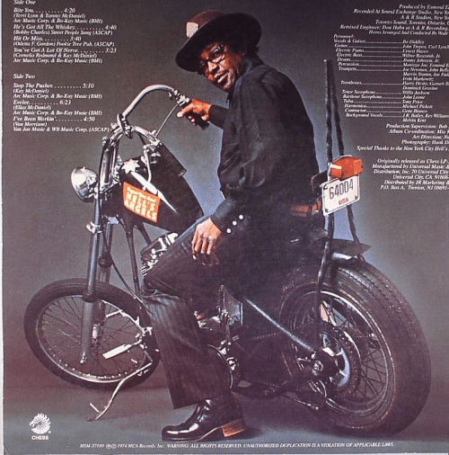 Bo Diddley's Panhead from the backside of the album 'Big Bad Bo'.
