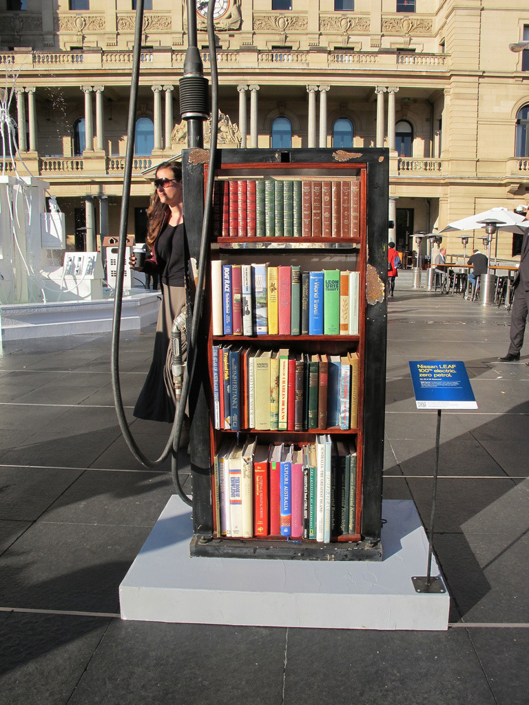 Bookcase Petrol Bowser<br /> An art installation by Nissan for their LEAF model in Sydney, Australia showing how petrol bowsers might be used in a 'World Without Petrol'.
