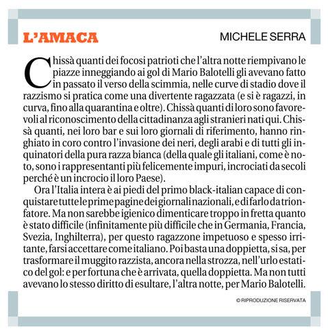 L'amaca di Michele Serra su Balotelli e il razzismo