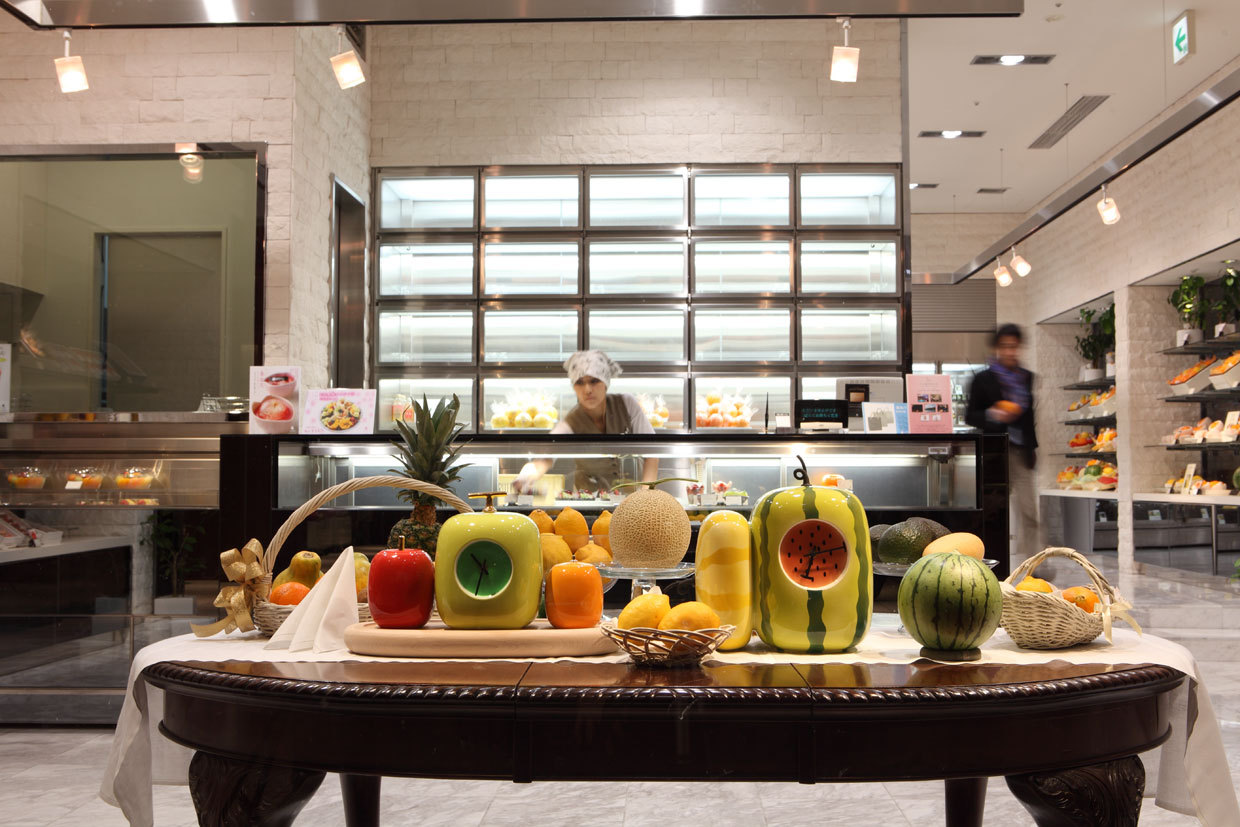 SUN FRUITS displayed in Tokyo Midtown, 2012, from the designer's 2011 series, FRUITS