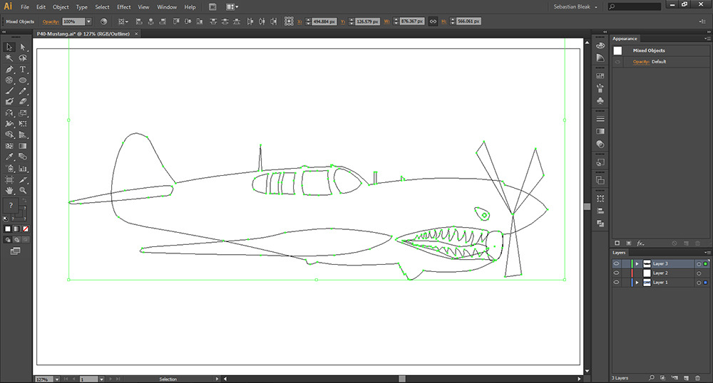 Adobe Illustrator CS6 P40 Mustang Outline View