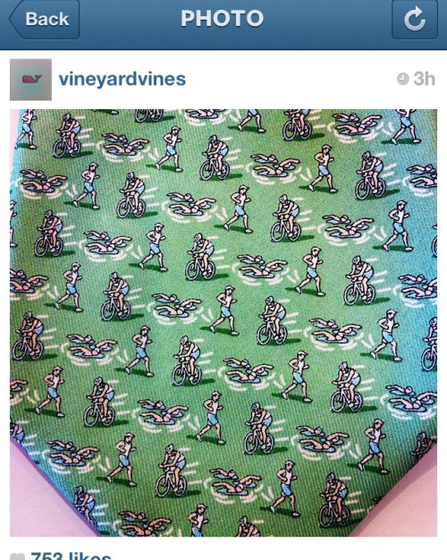 Love this old school Vineyard Vines triathlon tie! Swim, bike, run!