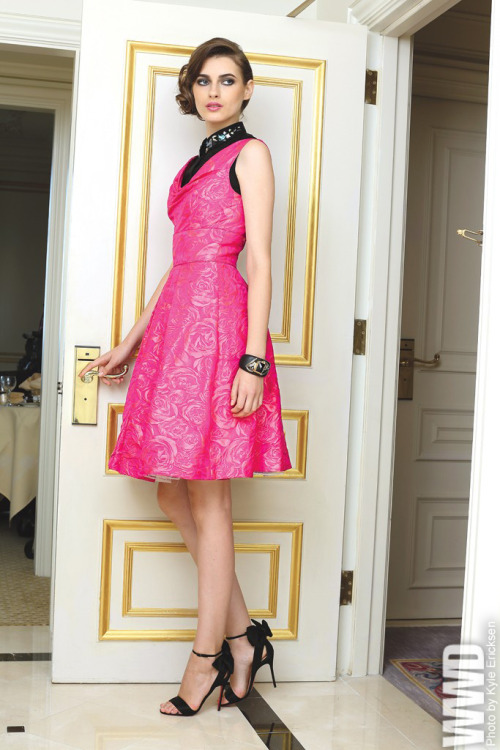 Resort 2013 Trend: Grand Stand<br /><br /> Theia's silk and polyester dress worn over Elizabeth and James' embroidered cotton shirt. Alexis Bittar bracelet; Christian Louboutin shoes.