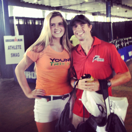 At IMNYC Expo with Pro TJ Tollakson! Good luck! @tollakson  @ Ironman US Championship Expo #CB