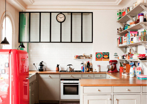 Um, where can I get a cherry red fridge?! myidealhome: happy kitchen with smeg frigde (via casadevalentina)