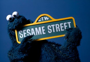 Cookie Monster with CTW - Sesame Street Sign