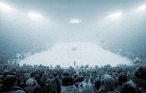 Lambeau Field in the snow, Green Bay fan's view