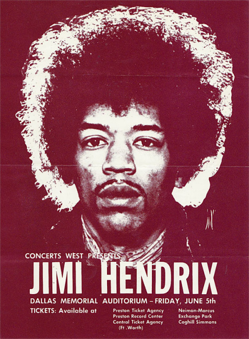 A Jimi Hendrix flyer for a show in Dallas, Cry of Love Tour, June 1970.