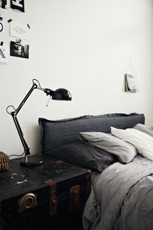 ikea lamp + comfy headboard (via pinterest)<br /><br />