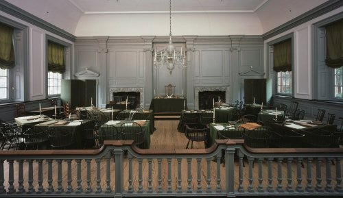 Independence Hall, Philadelphia; room where the Constitution was created and signed; Dept of Interior photo