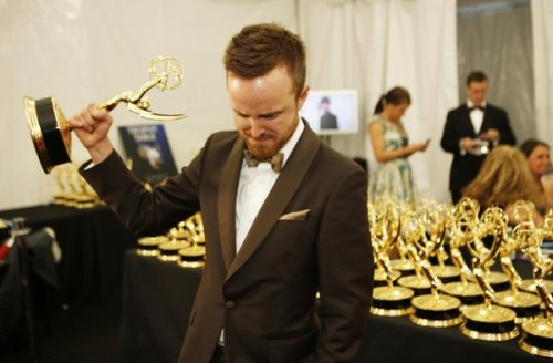 Monday Morning Awesome: Aaron Paul, last night after winning anEmmyfor Breaking Bad. Last night Aaron Paul won his second Emmy for hisportrayalas Jesse Pinkman on AMC's Breaking Bad. He tearfully thanked Series creator Vince Gilligan for not killing off his character earlier in theseries. Aaron Paul's was the only win for Breaking Bad out of the show's seven nominations this year. Videoof his acceptance,see if before it gets pulled.