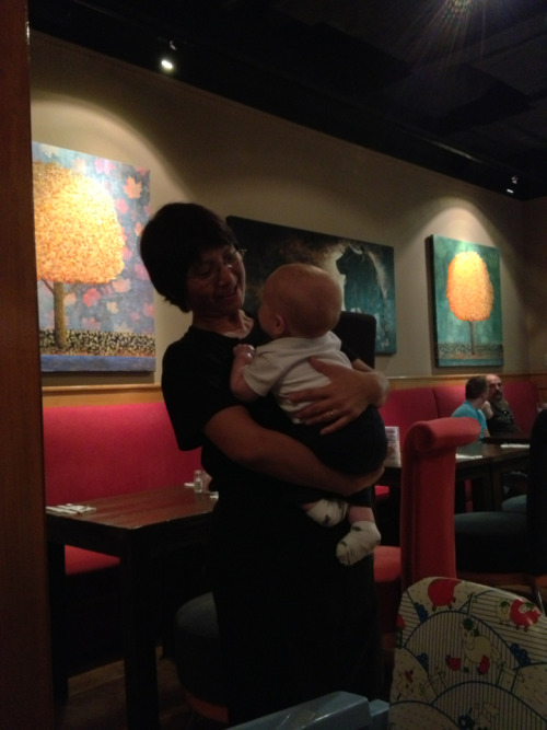 Besides the requests for pictures we get a fair amount of waitresses asking  if they can hold Nolan. He seems to enjoy it and we can get a few minutes to eat our meal.